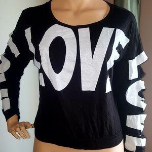 Blush Women's Long Sleave T Shirt black white Love